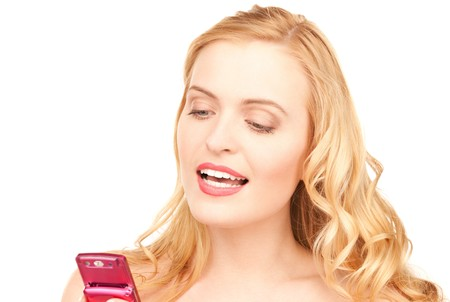 picture of happy woman with cell phone Stock Photo - 7636506