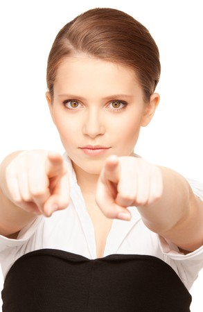 picture of attractive young businesswoman pointing her fingers Stock Photo - 7636549