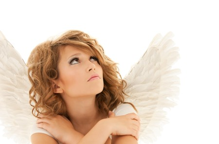 girl alone: picture of unhappy teenage angel girl over white