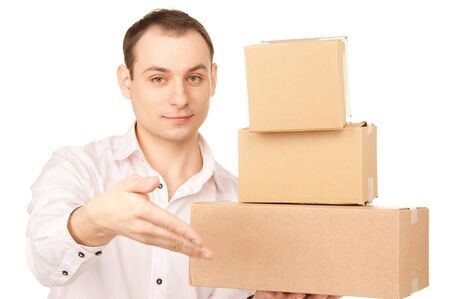 picture of businessman with parcels over white photo