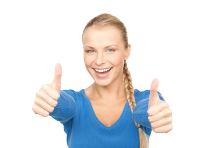bright picture of lovely teenage girl with thumbs up Stock Photo - 7795919