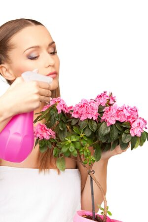 bright picture of lovely housewife with flowers Stock Photo - 7809779