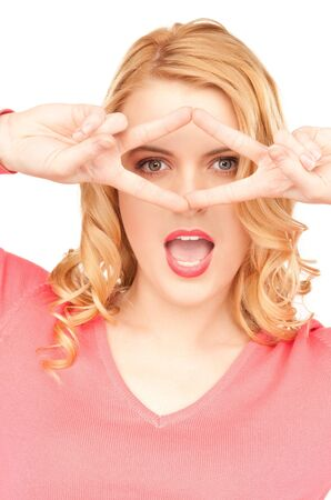 bright picture of lovely woman showing victory sign photo