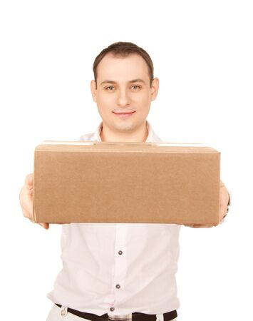 picture of businessman with parcel over white Stock Photo - 7812258