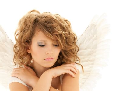 angel girl: picture of unhappy teenage angel girl over white