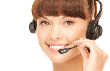 agents: bright picture of friendly female helpline operator