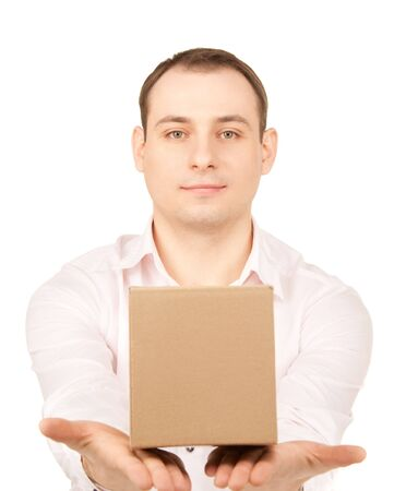 delivery package: picture of businessman with parcel over white Stock Photo