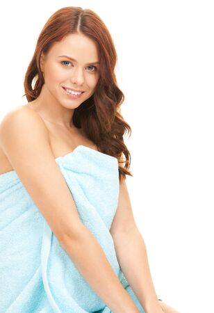 bright picture of lovely woman in towel over white Stock Photo - 7812534