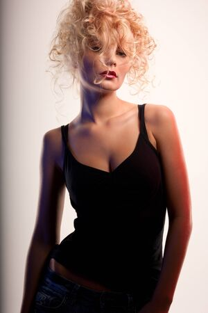 picture of lovely woman with fashionable hair photo