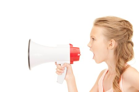 picture of girl with megaphone over white Stock Photo - 7812509
