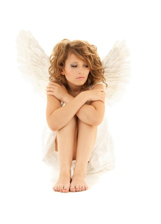 picture of unhappy teenage angel girl over white Stock Photo - 9542652