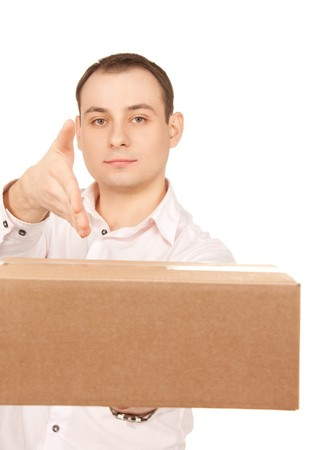 picture of businessman with parcel over white Stock Photo - 16573559