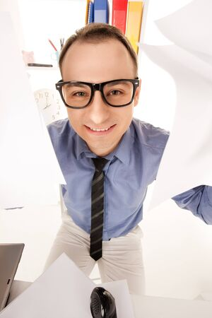 funny wideangle picture of businessman in office Stock Photo - 16573560
