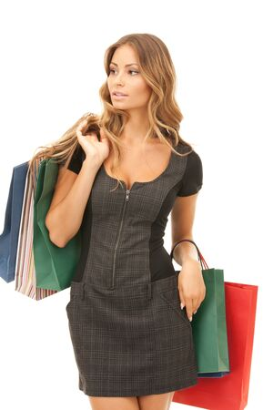 lovely woman with shopping bags over white Stock Photo - 9545817