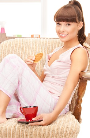 bright picture of lovely woman with cup Stock Photo - 9613286