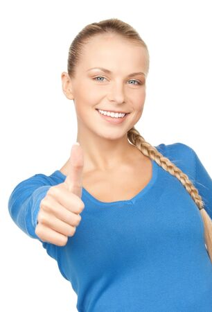 bright picture of lovely teenage girl with thumbs up Stock Photo - 9542666
