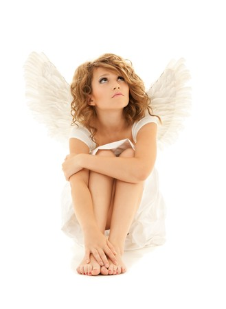 sad lonely girl: picture of unhappy teenage angel girl over white