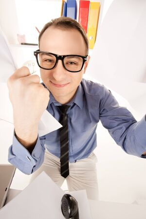 funny wideangle picture of businessman in office photo