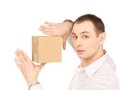 picture of businessman with parcel over white photo