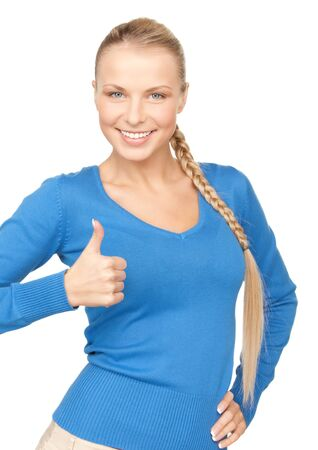 bright picture of lovely teenage girl with thumbs up Stock Photo - 7885867