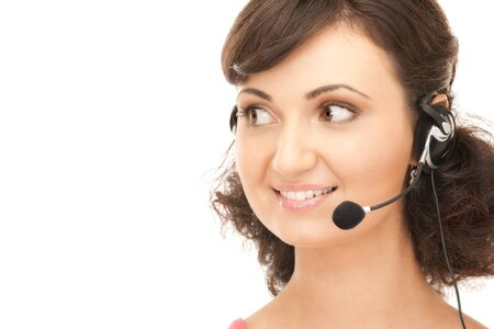 bright picture of friendly female helpline operator Stock Photo - 7885852