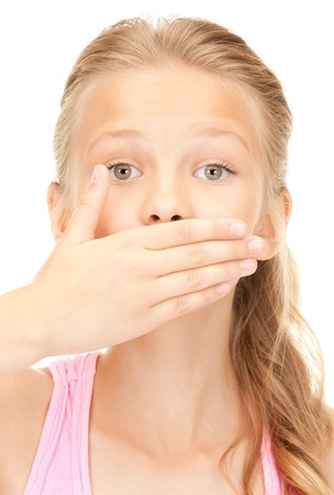 bright picture of pretty girl with hand over mouth photo