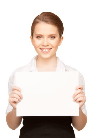 picture of happy teenage girl with blank board photo