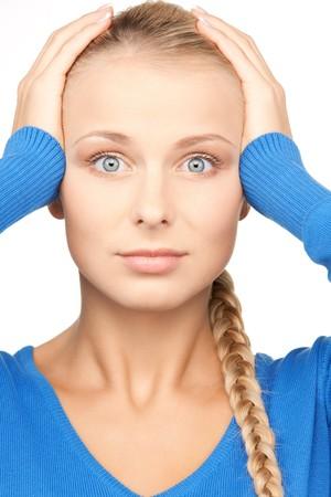 nerveux: vif portrait de femme malheureuse sur blanc Banque d'images