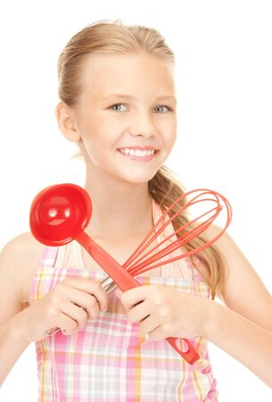 picture of little housewife with red ladle Stock Photo - 7956752