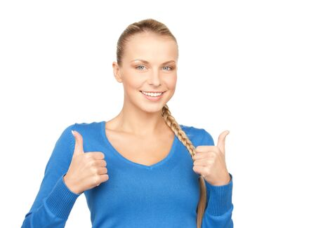 bright picture of lovely teenage girl with thumbs up Stock Photo - 7956748