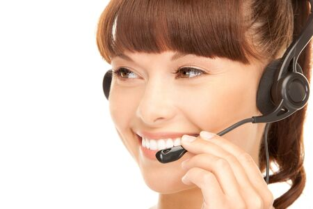 hotline: bright picture of friendly female helpline operator