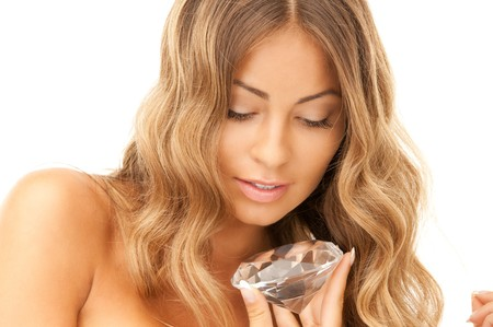 portrait of lovely woman with big diamond  photo