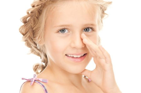 bright picture of lovely girl whispering gossip Stock Photo - 7956826
