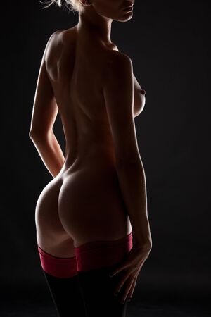 silhouette backlight picture of naked woman  in stockings Stock Photo - 7956829
