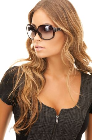 portrait of lovely woman in shades over white Stock Photo - 7956940