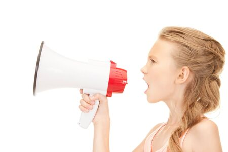 picture of girl with megaphone over white Stock Photo - 7956884