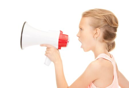 picture of girl with megaphone over white Stock Photo - 8015884