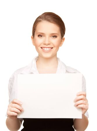 picture of happy teenage girl with blank board Stock Photo - 8016127