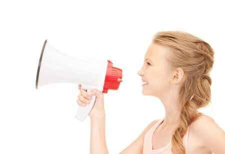 picture of girl with megaphone over white photo
