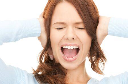 wanhopig: helder beeld van schreeuwende vrouw over Wit  Stockfoto