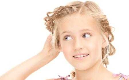 bruit: bright picture of lovely girl listening gossip  Stock Photo