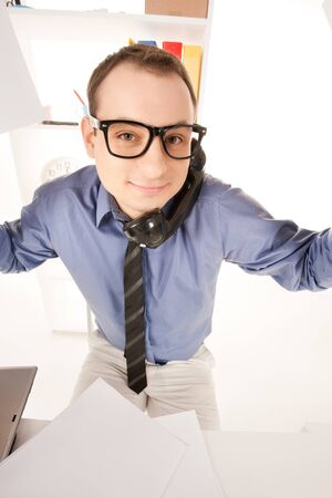 wideangle: funny wideangle picture of businessman in office Stock Photo