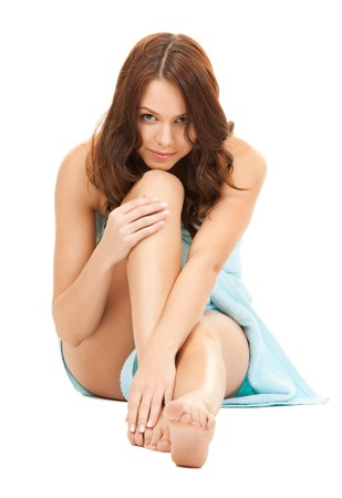 bright picture of lovely woman in towel over white Stock Photo - 8071932