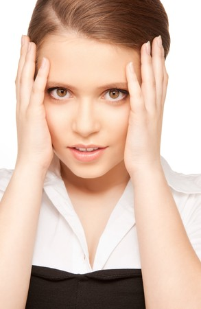 bright picture of unhappy teenage girl face Stock Photo - 8072498