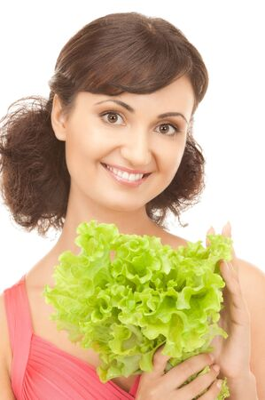picture of happy woman with lettuce over white Stock Photo - 8072795