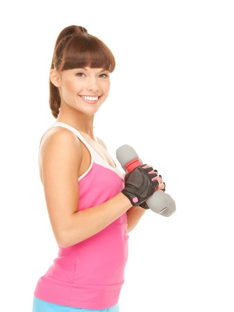 lovely fitness instructor with dumbbells over white Stock Photo - 8072839