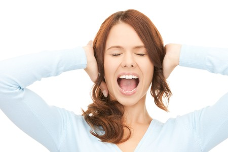 insult: bright picture of screaming woman over white  Stock Photo