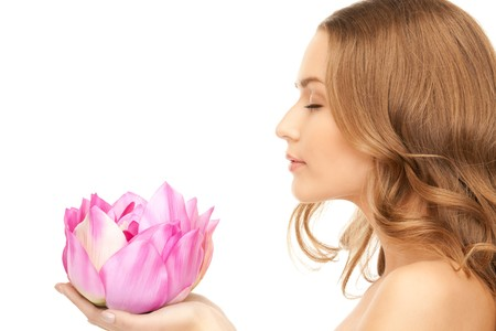 picture of beautiful woman with lotus flower  photo
