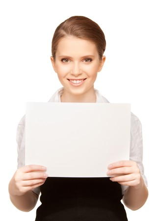 picture of happy teenage girl with blank board Stock Photo - 8072919