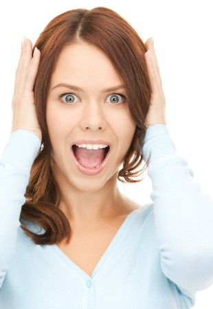 bright picture of screaming woman over white